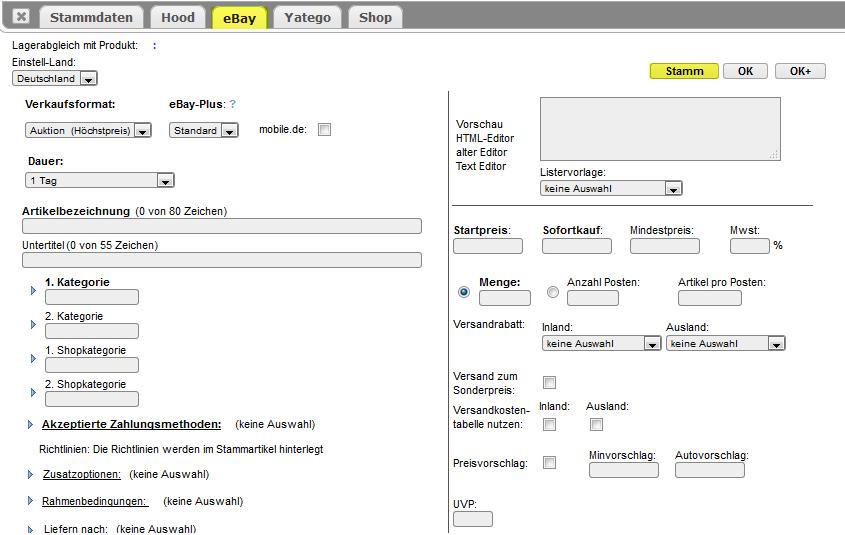 Dreamrobot Lister - eBay Daten