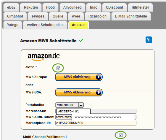 Amazon Einstellungen des eBay Portal Accounts