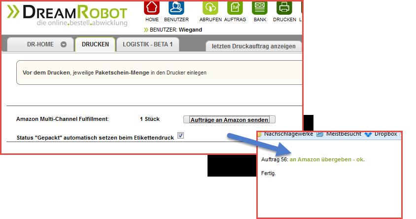 Dreamrobot testkauf gesendet an amazon